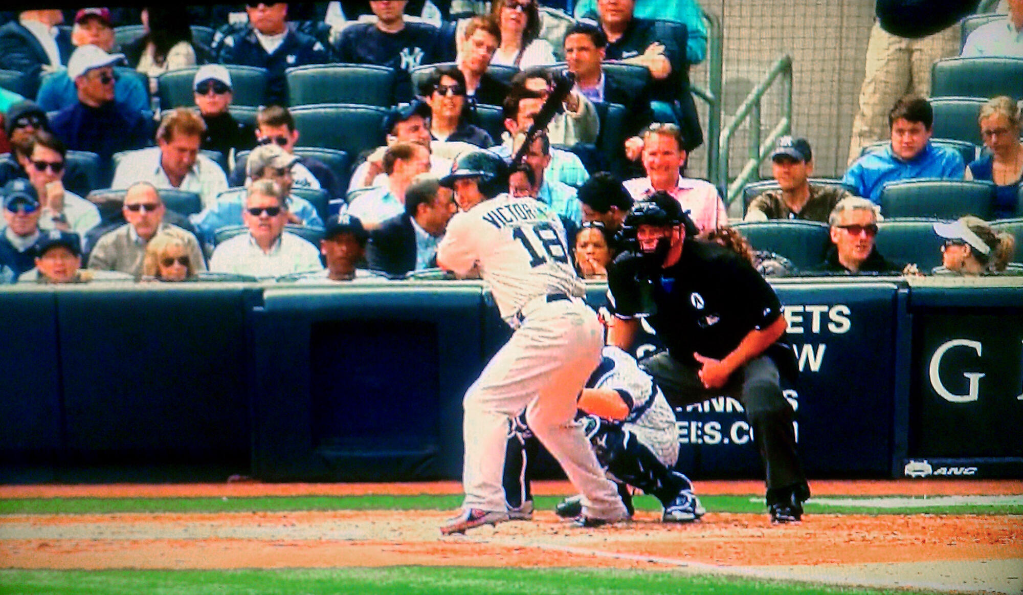 Keith sitting with two women Opening Day 2013 Yankees vs Redsox at Yankee Stadium 5