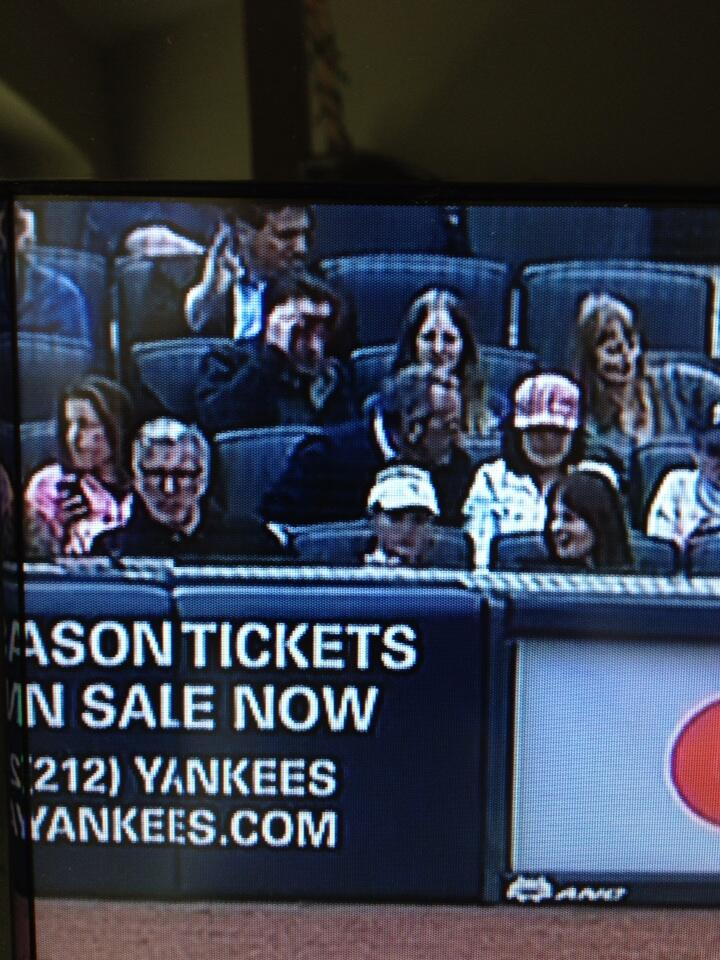 Keith sitting with two women Opening Day 2013 Yankees vs Redsox at Yankee Stadium 4