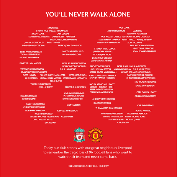 Respect! Manchester United pay tribute to the 96 Hillsborough victims