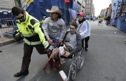 He was running for the Newton children & now he may never walk again. A true hero: http://t.co/QIfQ1dnIGm #BostonMarathon