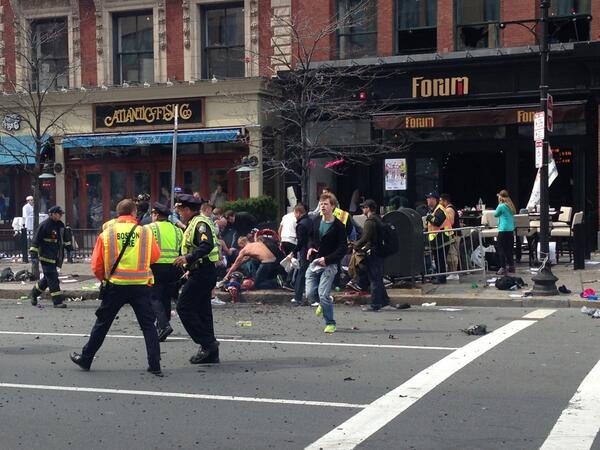 RT @hoelu: RT @JackieBrunoNECN: Two explosions along @bostonmarathon route. Multiple severe injuries. Terrible. pic.twitter.com/gFERG4kRsC