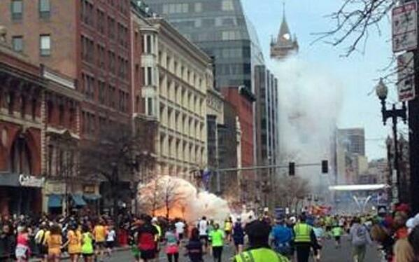 Two explosions. One after another. This is image of the first explosion #BostonMarathon pic.twitter.com/mSdrfrXnNB