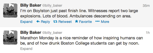 Boston Globe's @billy_baker tweeting marathon. Frightening, sad to see sudden change in tone. HT @WillKane pic.twitter.com/Zuj4LzEMvd
