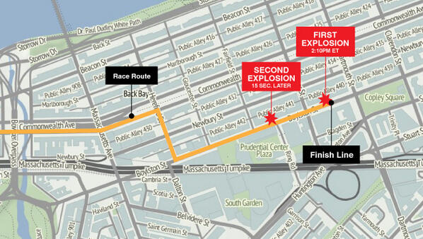 Here is a map of the Boston Marathon explosions  cbsn.ws/11iRWub via @CBSNews pic.twitter.com/bNvoWxq2BZ