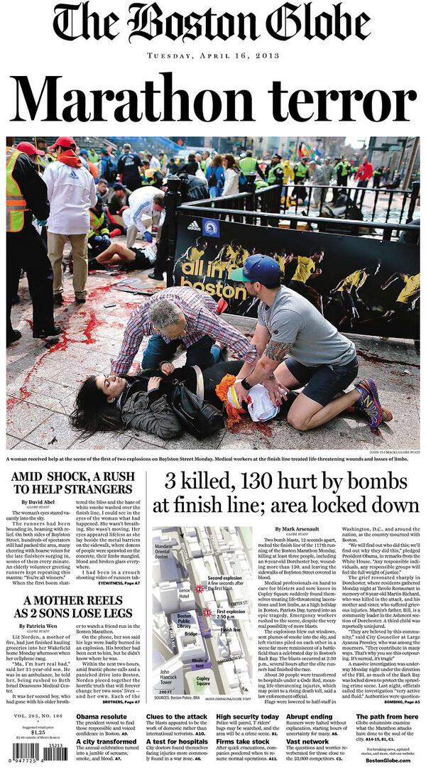 Portada de hoy del @BostonGlobe tras el atentado de la Maratón de Boston (vía @Newseum) pic.twitter.com/dcVg5kq1XS