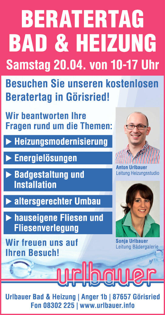 Urlbauer Görisried urlbauer bad heizung urlbauerbad