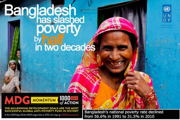 Great news for #Bangladesh - we are on track for #MDG1 - halving poverty in 2 decades #MDGmomentum pic.twitter.com/sRPbemJ42d