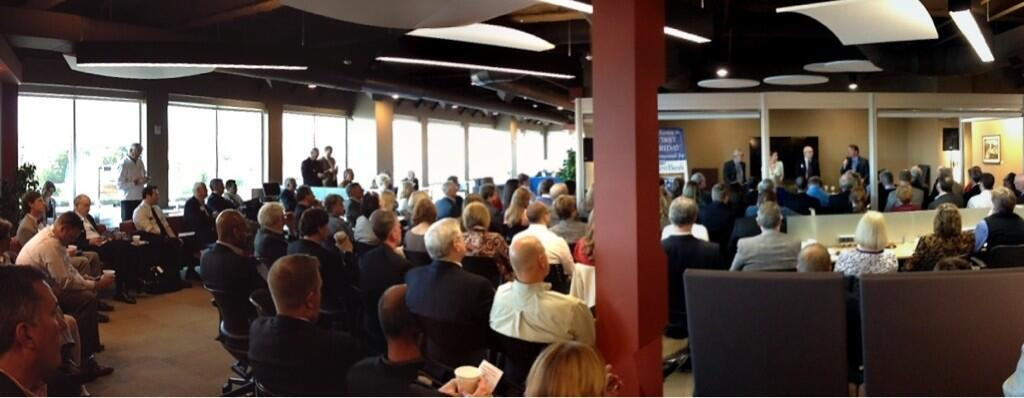 panoramic shot of Williamson County Chamber of Commerce event on 4/5/13 at E|SPACES Cool Springs