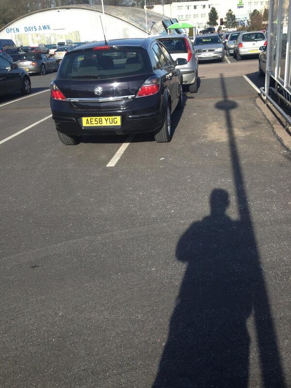 AE58 YUG displaying Selfish Parking