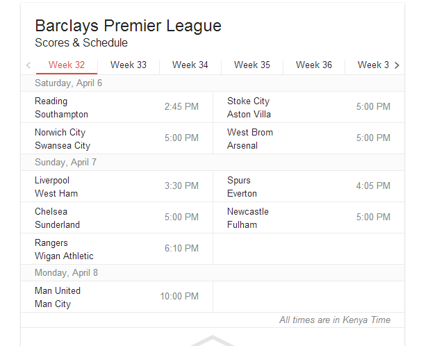 Twitter / echenze: EPL fixtures for this weekend. ...