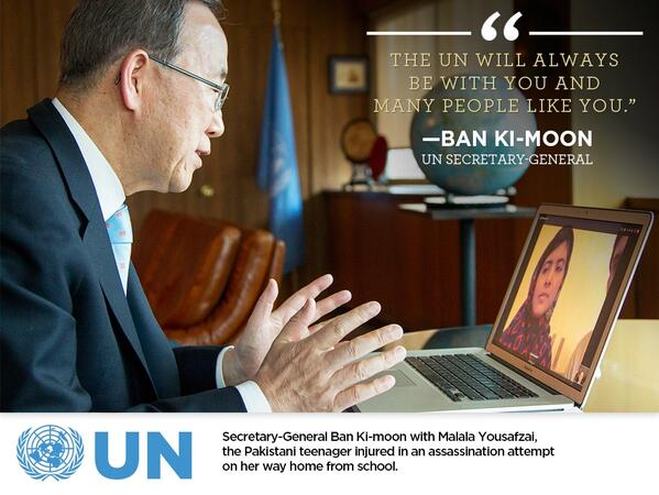 Ban Ki-moon to Malala: UN will always be with you & many people like you. j.mp/10BY677 #MDGmomentum pic.twitter.com/NETT86gx6D