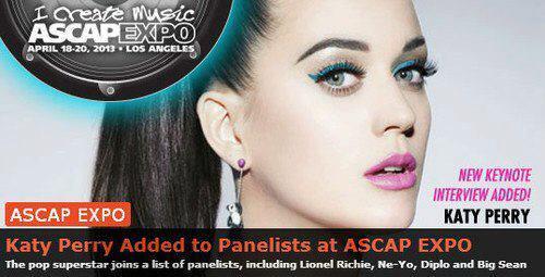 CONFIRMADO! Katy vai comparecer no evento da ASCAP EXPO, evento que reúne vários compositores e autores p entrevistas http://t.co/rMrEmVLOXV