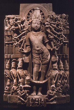 18 armed viShNu, the great puruSha of the pA~ncharAtrika-s, the deity of the nArAyaNAstra