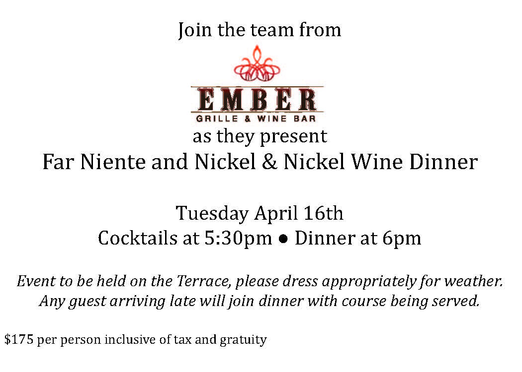 Twitter / LAubergeLC: Tix to Ember April 16 Far Niente ...