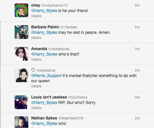 Tweets from people questioning who Thatcher is.