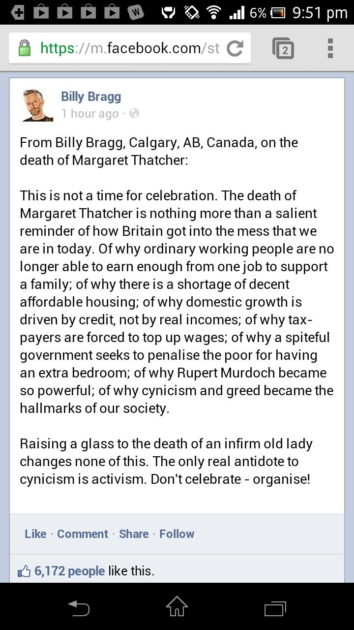 Twitter / luciebamboocy: Billy Bragg on Thatcher #poignant ...