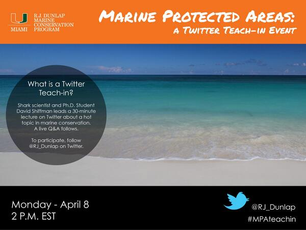 Just 45 minutes until the #MPAteachin ! Follow @RJ_Dunlap to learn about marine protected areas at 2 p.m. EST. pic.twitter.com/jrvF6tzmwJ