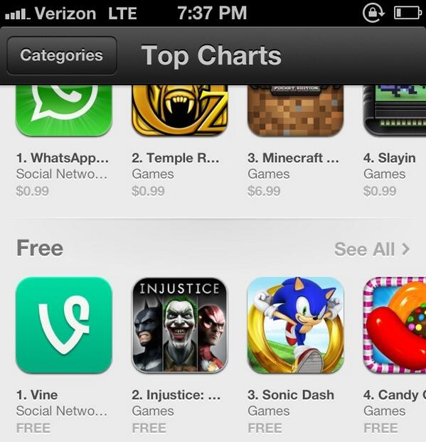 Just Six Months After Being Acquired, Twitter's Vine Hits #1 Free Spot On Apple's App Store