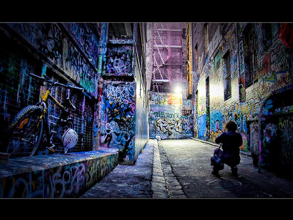 So... Photography in Melbourne. Current header for @WeMelbourne is one I took of a visitor admiring Hosiers Ln ... pic.twitter.com/mOoT5OwFgR