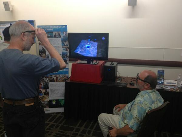Demonstrating 3-D visualization of lakes from the Tahoe Environmental Research Center at the OR open house. pic.twitter.com/O4QD7ejc9i