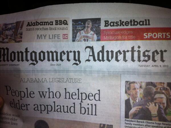 Montgomery Advertiser celebrates Syracuse win over Michigan in NCAA tournament. Oh wait...