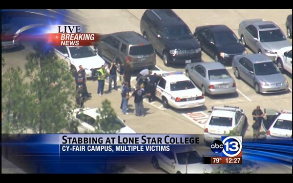 Four victims taken from #LoneStar College in #Houston on life star choppers; one in custody. @abc13houston pic.twitter.com/m9M6zcxiDk