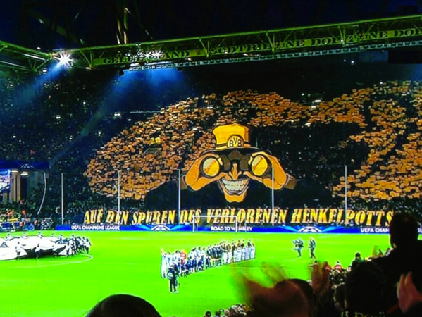 Sporf on twitter amazing borussia dortmund fans with an sporf on twitter amazing borussia dortmund fans with an incredible 3d were watching you message to the malaga players tonight httpt4hggitbuwo voltagebd Images