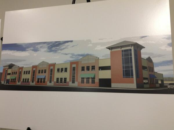 The concept design of the CY parking garage. Would have available space for retail on ground floor. #cymicro pic.twitter.com/THS2oILhUx