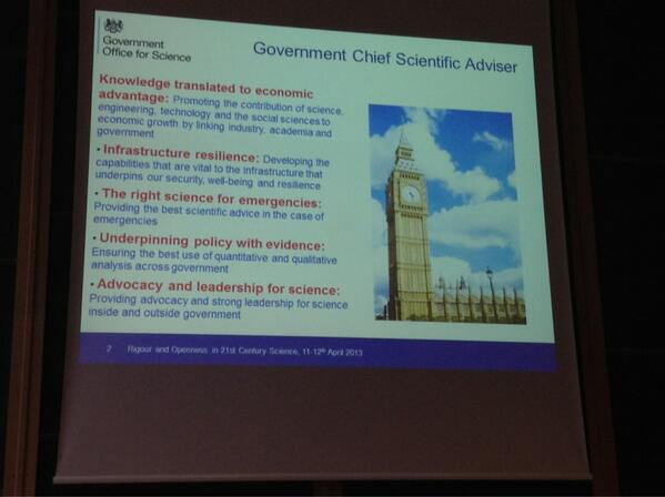 #openoxford How Sir Mark Walport sees his new role as Govt Chief Scientific Advisor/Adviser pic.twitter.com/NHsO0Yl16V