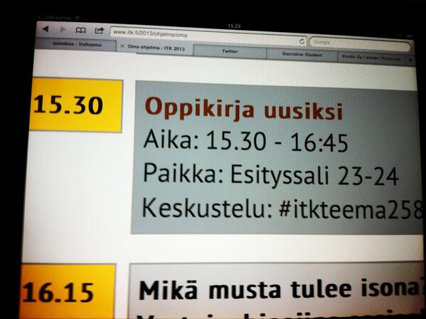 #itk13 #itkteema258 alkaa #sometu verkoston Oppikirja uusiksi pic.twitter.com/yrHj5k7F7i