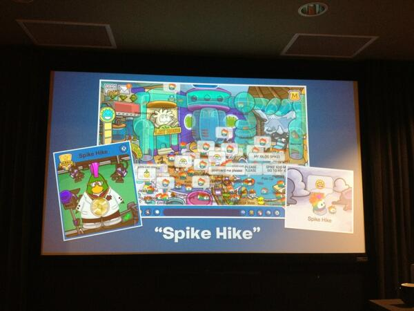 Spike Hike is the penguin Chris Heatherly, VP/GM Disney Interactive Worlds created w his son #ClubPenguinSummit pic.twitter.com/usm9R9D72g