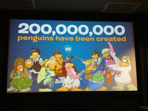 Wow! 200,000,000 penguins have been created. Played in over 190 countries. #ClubPenguinSummit pic.twitter.com/oxZcygEVFL