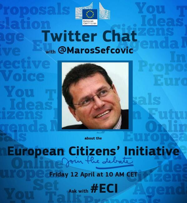 Chat with @MarosSefcovic on the #ECI kicking off now! If you want to find out how to launch one, now's your chance. pic.twitter.com/Y1DPMAOE1w