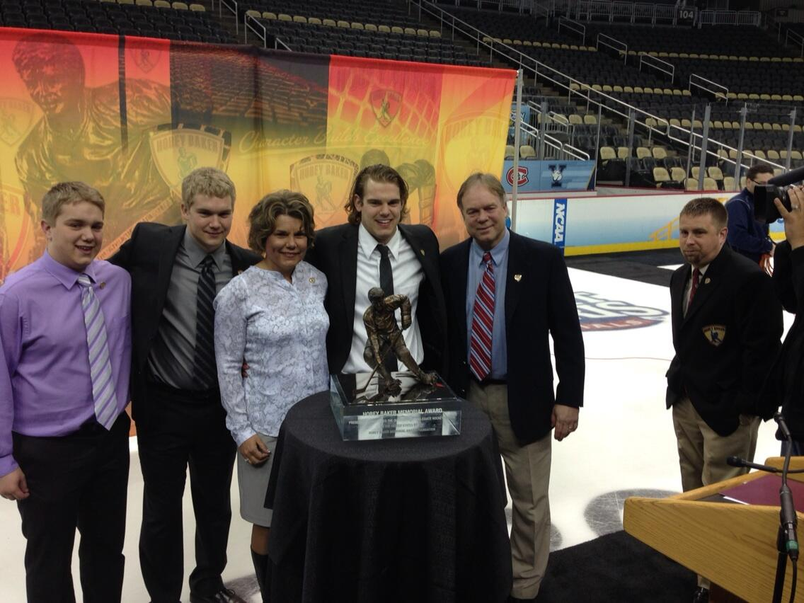 NCAA: Hermantown, Minnesota's Drew LeBlanc Wins 2013 Hobey Baker Award