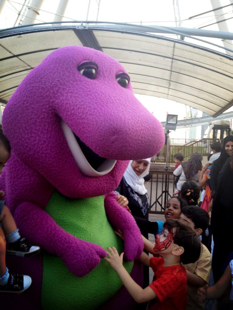 Al Qasba On Twitter Barney Is Here Meet Greet Barney And His