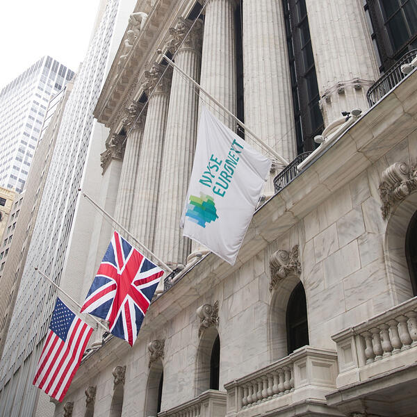 The flags fly at half-mast in front of @NYSEEuronext today, marking Lady Thatcher's funeral. http://pic.twitter.com/XlKBkO0r7z