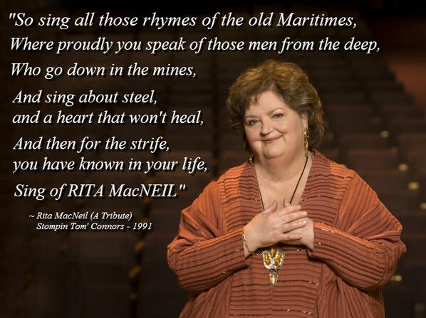 RIP Rita MacNeil, you know you're a Canadian icon, when Stompin' Tom writes a song about YOU... pic.twitter.com/psy3HKIppO