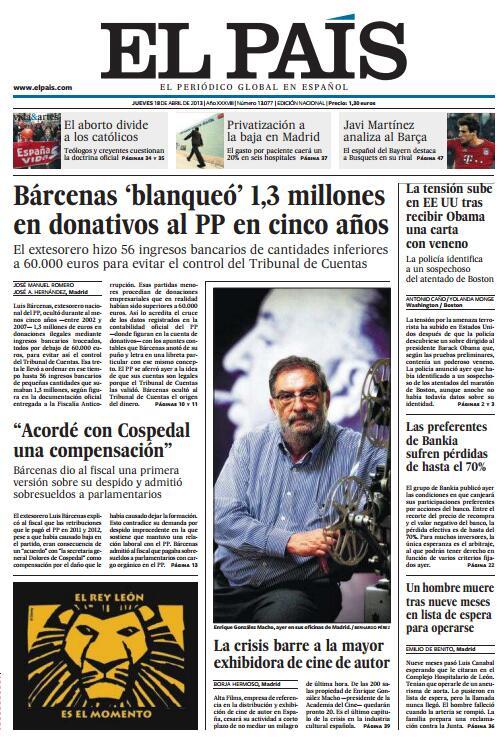 """Portada de """"El País"""" : Bárcenas 'blanqueó' 1,3 millones en donativos al PP en cinco años BIFhEuzCUAEpJEq"""
