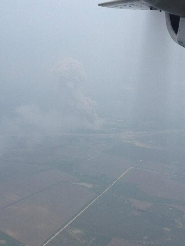 Here is an aerial pic of the West, TX explosion. Pilot said it shook his plane! Also reported transformers exploding. http://pic.twitter.com/8jIgggnndJ