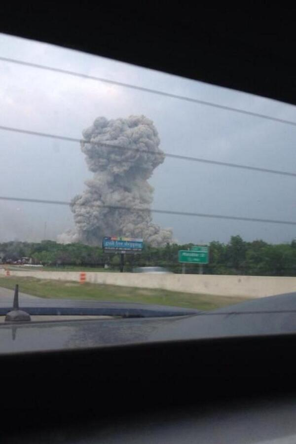 NEWS ALERT: RT @DFWscanner: Powerful image of the West, TX explosion. The folks in West need our prayers! @whnt http://pic.twitter.com/5r5YEl4ETH #waco