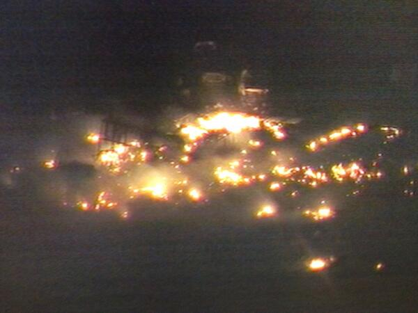PIC from chopper 5 of remains of #westplantexplosion. Rubble. Still burning. @nbcdfw #breaking http://pic.twitter.com/I8Bxfr1i3f