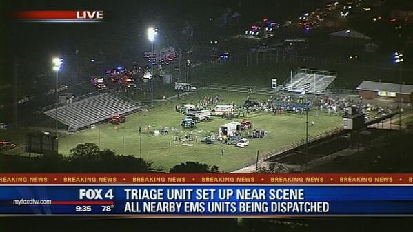 PHOTO: Medical response & triage center set up on football field in West, TX after fertilizer plant explosion http://pic.twitter.com/KhMokNhOSI