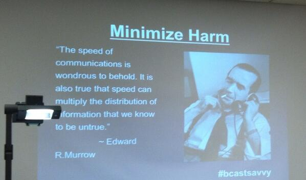Quoting the Broadcasting King - Edward R. Murrow - in her #bcastsavvy presentation cc @MissAmberDiaz #newhousesm6 pic.twitter.com/C4jTewc0BN
