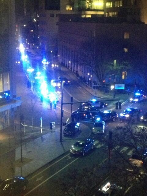 Police cars lining Ames & Vassar Streets at scene of MIT shooting.  pic.twitter.com/fCp9IDMZXb  (photo via @Adrian_H)