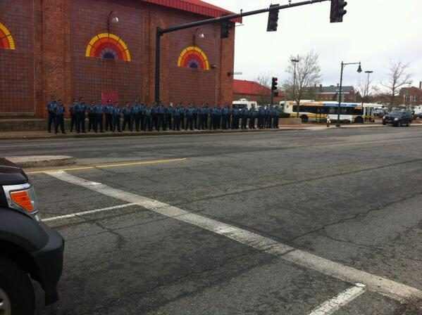 State police lined up on Arsenal Street, standing still and silent. #wcvb http://t.co/9L8gkMWZhU