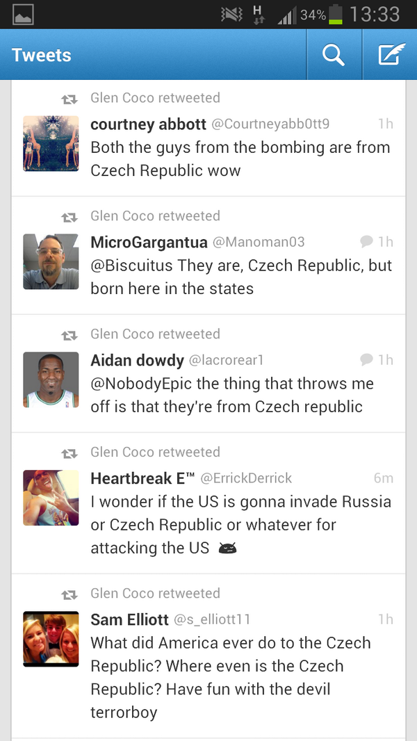 Some 'Muricans struggling to tell the difference between the Czech Republic and Chechnya #Watertown pic.twitter.com/dkQXfXwpSd