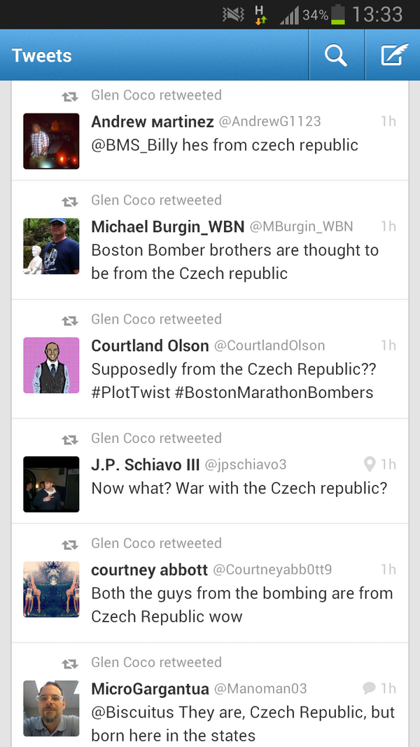 Some more 'Muricans struggling to tell the difference between the Czech Republic and Chechnya #Watertown pic.twitter.com/5ylohtKwxb