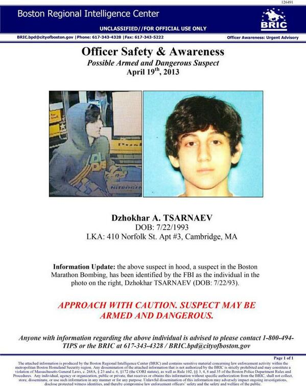 Boston under lockdown as police hold a massive manhunt to capture Dzhokhar Tsarnaev one of suspects in the explosions http://pic.twitter.com/gYnGqZMrCh
