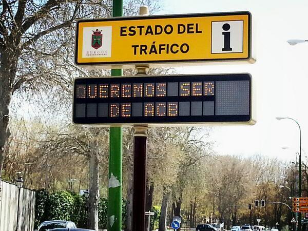 Este es el mensaje que muestran todos los paneles de tráfico de la ciudad de Burgos. #BurgosQuiereACB pic.twitter.com/0YdbwfHaw1