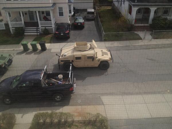 Humvees on patrol. Lets end this soon please! #watertown #bostonstrong pic.twitter.com/Yn3aaNX3n3